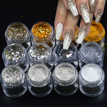 1 Bottle Shinning Gold Silver DIY Nail Glitter Powder 3d Pigemnt Sequin Sparkling Pearl Manicure Nail Kit 12 Color Optional SAGS(China)