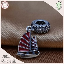 High Quality Popular 925 Titanium Silver Red Enamel Sailling Boat Pendant Charm Fitting European Famous Silver Snake Chain(China)