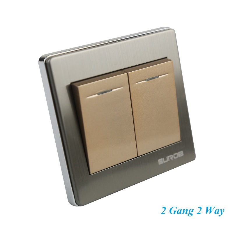 E9 Series Brushed Stainless Steel Gold Wall Switch With fluorescence 2 Gang Double Control Switch Socket Panel<br><br>Aliexpress
