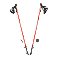 2PCS/Pair Carbon Fiber Ultralight Trekking Poles Walking Stick Anti Shock Absorber System Hiking Pole Elastic 80cm-130cm Sticks(China)