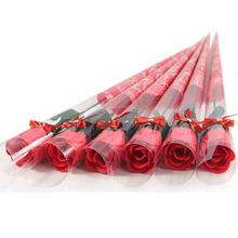 5pcs Bath Body Artificial Rose Flower Soap Wedding Party Decor Valentines Gift RED