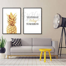 New minimalist Nordic creative simple coffee shop hanging gold pineapple painting decorative painting wall pictures pop art