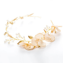 Korea Flower Wedding Hair Accessories Gold Headband Pearl Leaves Pure Handmade Wedding Jewelry Bridal Hair Accessories MD222(China)