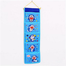Cartoon Blue Cat Multifunctional Storage Bag Fashion Organizer Hanging Storage Pouch Bags Case for Door Bathroom