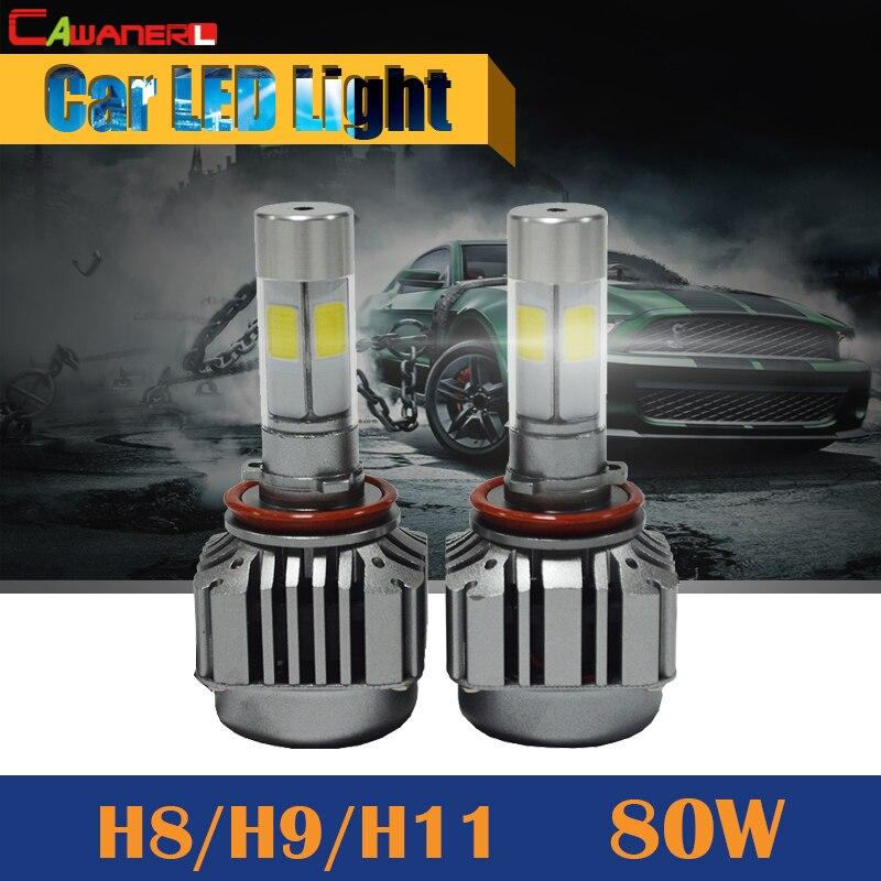 Cawanerl H8 H9 H11 80W 8000LM LED Bulb 6000K White Replacement Car Fog Light Headlight DRL Daytime Running Lamp<br>