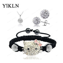 YiKLN Hello Kitty Fashion Shamballa Sets Bracelet & Earrings & Necklace Disco Ball Beads Shamballa Jewelry SHSE41