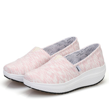 New Summer Women Slip On Swing Wedges Platforms Shoes Shape Up Toning Fitness Slimming Walking Sneakers Shoes(China)