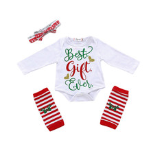 3PCS Newborn Baby Girl Christmas Clothes Best Gift Ever Long Sleeve Romper +Leg Warmer Headband Outfit Toddler Kids Xmas Custome