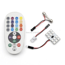 1set Car Styling Atmosphere Lights 12smd 5050 multiple colour RGB remote control Interior reading lights decorations dome bulbs