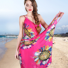 2017 Women Beach Dress Open-Back Swimwear Sexy Bikini Beach Cover-ups Wrap Pareo Skirts Towel Flower(China)