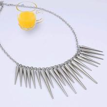 2016 Hot Christmas Gift Steampunk Pendant Necklace Gold Silver Color Chain Spike Maxi Necklaces & Pendants For Women Jewelry