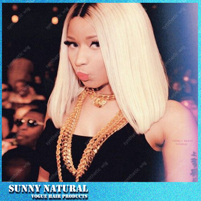 Brazilian Nicki Minaj Short Bob Blonde Wigs Synthetic Lace Wig Front Ombre Black To Blonde Long Natural Heat Resistant Hair Wigs<br><br>Aliexpress