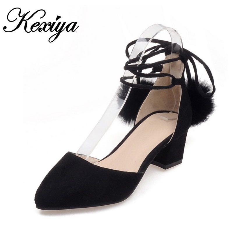 2017 Fashion Spring/Autumn women shoes big size 32-48 sandals Pointed Toe pumps sexy gray Lace-Up high heels zapatos mujer<br><br>Aliexpress