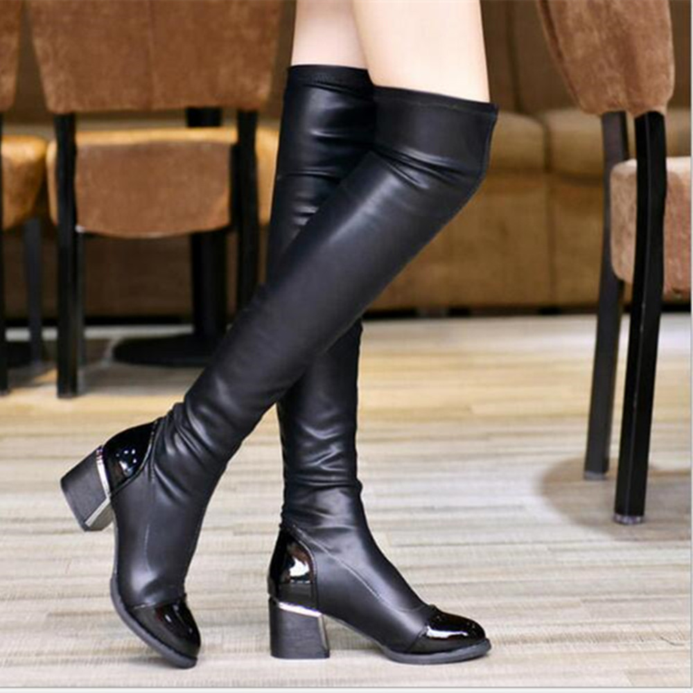 Women Thigh High Stretchy Snug Block Heel Boots PU Leather Platform Martin Boots Round Toe Over Knee Short Plush Warm Shoes<br><br>Aliexpress
