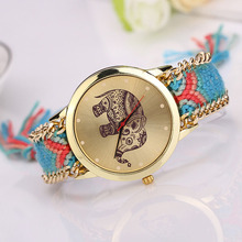Fashion Weaved Rope Band Watch Women Elephant Pattern Dial Quartz Wrist Watches Women's Handmade Bracelet Clock Lady Gift #N