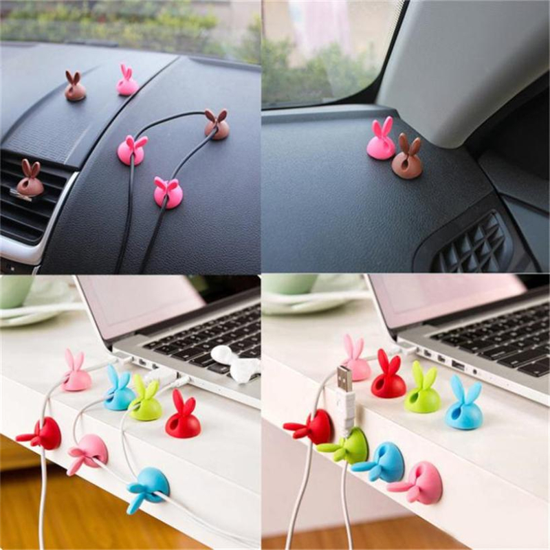 New Creative  6 x Cable Clip Desk Tidy Wire Drop Lead USB Charger Cord Holder Secure Table Wear-resistant hot sale Easy UseC022803