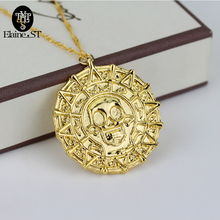 Pirates of the Caribbean gold coin Necklace can Drop-shipping Metal Link Chain For Gift Necklace for car Jewelry(China)