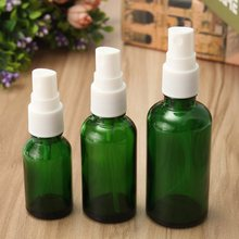 New 15ml 30ml 50ml Glass Spray Bottle Green Atomizer Refillable Bottles Vial With White Cap For Essential Oil Perfume Cosmetic