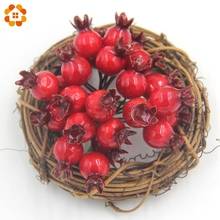20PCS/Lot Mini Fake Smooth Foam Pomegranate Fruit Small Berries Artificial Flowers Red Cherry Stamen For Home Wedding Decoration