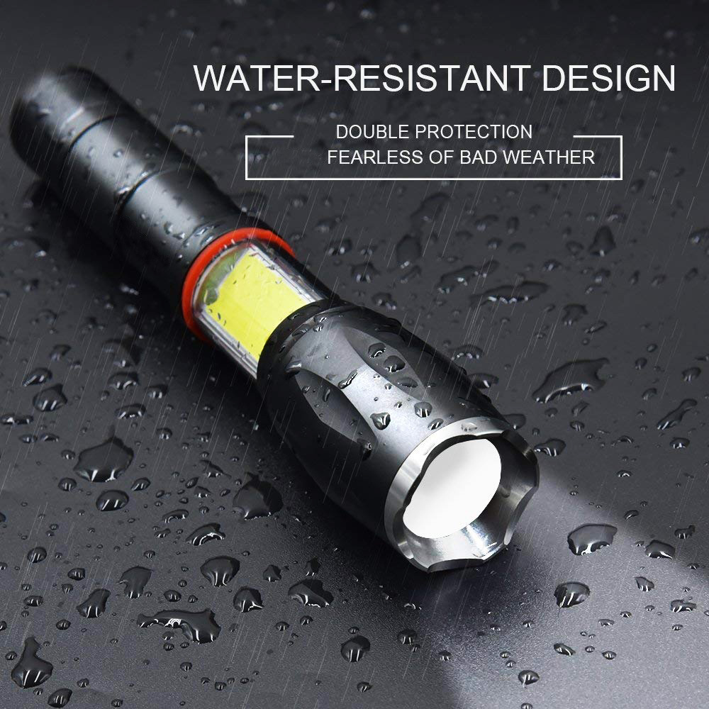 Aukelly Led Flashlight With Cob Work Light,High Lumens Tactical Flashlight,Water