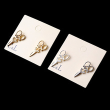 2016 New Design Fashion Simple Gold and SIlver plated small scissor Stud earrings for women Jewelry accessories Wholesale(China)