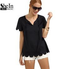 SheIn Women Casual Tops and Blouses 2016 Hot New Fashion Summer Style Ladies Plain Navy Short Sleeve V Neck Blouse