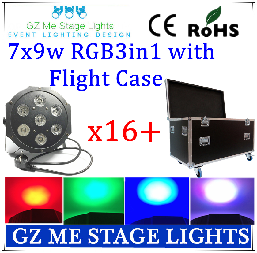 16pcs 7x9W RGB 3in1 led Par lights and  flight case flat par  dmx control disco lights professional dj equipment dyeing lamp<br>