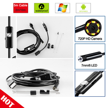 R&N Android Phone Endoscope Camera 2M 5M 7.0mm lens Endoscope inspection Pipe IP67 Waterproof 720P HD micro USB spy mini Camera