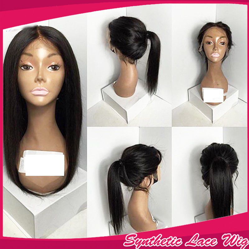Cheap Silky Straight Long Hair Heat Resistant Full Lace Wigs With Baby Hair Quality Synthetic Lace Front Wigs For Black Women<br><br>Aliexpress