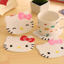 1Pcs Hello kitty silicone Anti Slip Kawaii Cup Mat Dish Bowl Placemat Coaster Base Home Kitchen Decoration Accessories
