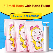 9pcs/set Small Doraemon Vacuum Storage Bags + Pump Household Space Saver Rangement for Clothes and Toys Plastic Travel Organizer