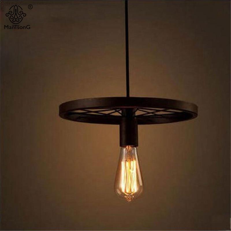 Industrial Loft Black Wheel Pendant Lamp  LED E27 Bulb Recommend Creative Retro Lights Restaurant/Bar Vintage Home Decor Lights<br>