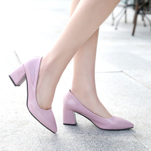 LLZCY Women Shoes High Heels 2017 Spring Pointed Toe chunky heel Pumps 7 colors heels Shoes Woman Dress Shoes Wedding shoes