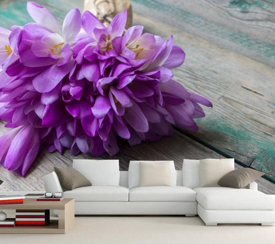 Papel de parede,Crocuses Bouquets Violet Flowers wallpapers,restaurant  living room sofa TV wall bedroom kitchen 3d wallpaper<br>