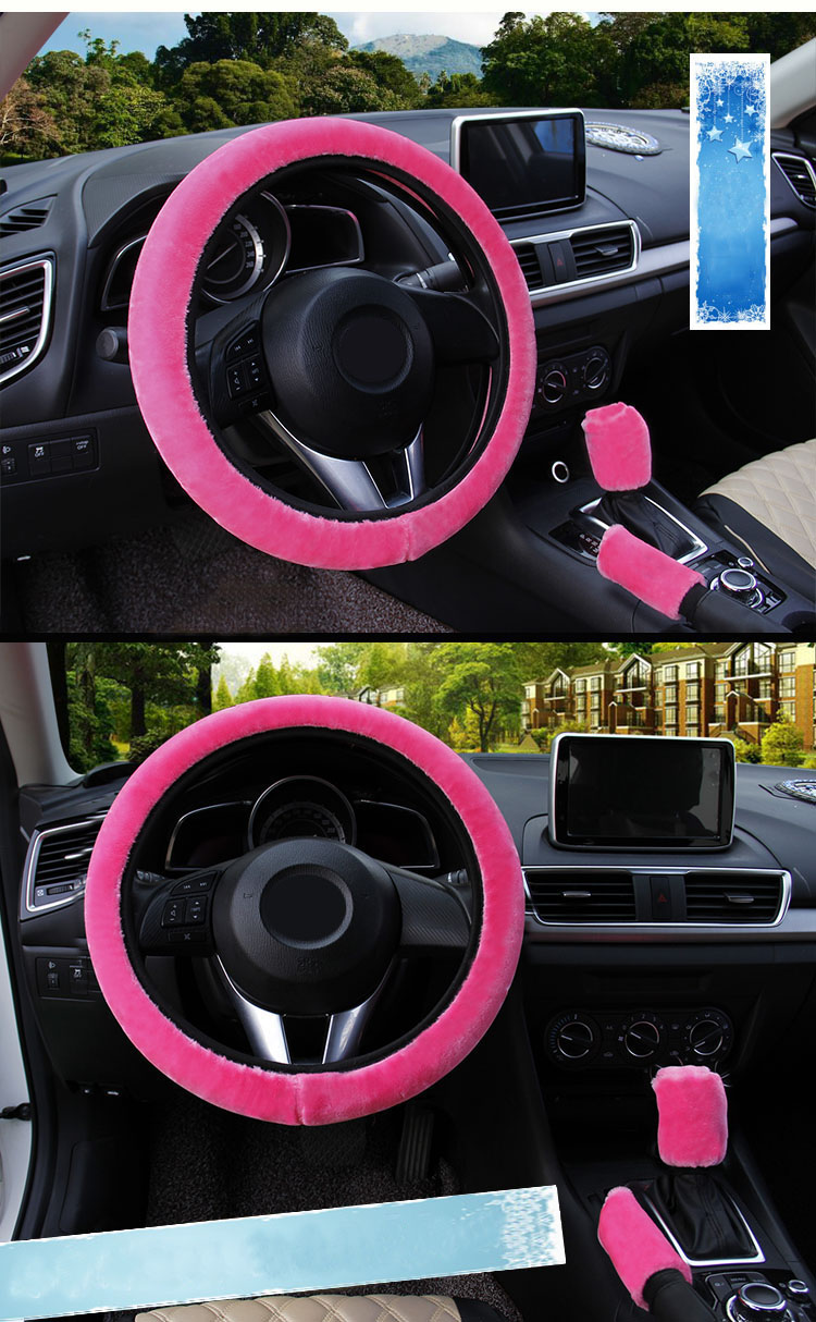 winter Steering Wheel Cover+Handbrake cover + car Automatic Covers / Warm Super thick Plush Gear Shift Collar 8