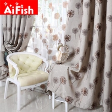 Pastoral Jacquard Coffee and Blue Printing Dandelion Window Curtains For Living Room Window Valance Tulle For Luxury MY023-3