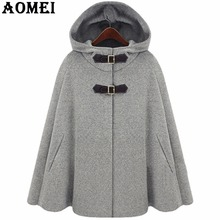 Women Wool Coats Gray Navy Blue Wear to Work Office Lady Outwear Cloak Clothing 2017 New Fall Autumn Winter Overcoats Cape(China)