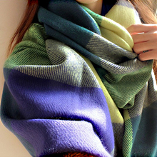 Fashion Plaid Cashmere Scarf Women Oversized Blanket Wrap Long Wool Scarves Women Winter Casual Tassels Shawls Poncho HOT