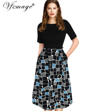 Vfemage Womens Elegant Vintage Summer Polka Dot Belted Tunic Pinup Wear To Work Office Casual Party A Line Skater Dress 2127(China)