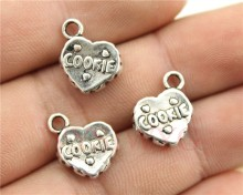 WYSIWYG 6pcs/lot 15*12mm antique silver plated 3d cookie charms