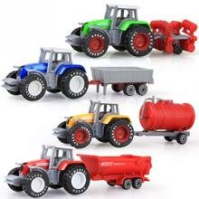 4pcs/set Alloy engineering car tractor toy model farm vehicle belt boy toy car model children's Day Xmas gifts(China)