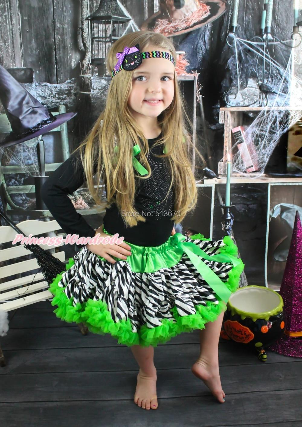Halloween Rhinestone Cat Black Pettitop Girl Green Zebra Pettiskirt Outfit 1-8Y MAMG1226<br>