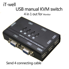 iT-well 4 Ports KVM Switch Control 4 PC Hosts by 1 Set of USB Keyboard Mouse and VGA Monitor Multi PC Manage Original Cable