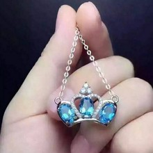 natural topaz pendant 925 sterling silver natural blue gemstone Pendant Necklace women fashion Crown jewelry & send necklace(China)