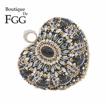 Heart Crystal Finger Ring Knucklebox Women Black Beaded Evening Clutch Bag Hardcase Bridal Metal Clutches Beading Handbag Purse