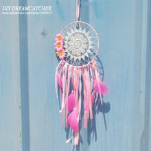 Dream Catcher The new teen girl pink Dreamcatcher feather pendant 3 Home Furnishing flower decoration gift ideas  white, blue