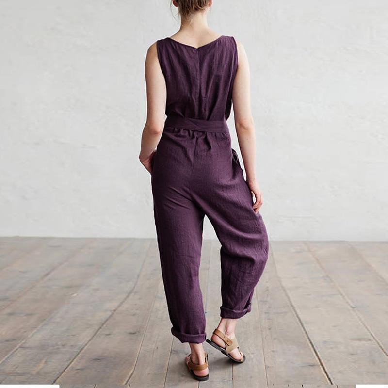 Descripción del producto  Mono holgado sin mangas con cinturón y cuello  redondo de lino de algodón para mujer. Paquete incluido  1 mono + 1 cinturón 94334c614b46