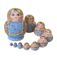 10pcs Matryoshka Doll Wooden Russian Hand Painted Nesting Dolls Toy Gift @ZJF