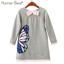 Humor Bear Girls Woolen Sweater 2018 Brands Winter Autumn Girl O-Neck Printed Cartoon Kids Sweater Baby Girls Sweater(China)