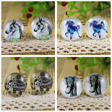 Hot Sale 10pcs 20mm Handmade Horse and elephant Photo Glass Cabochons Pattern Domed Jewelry Accessories Supplies(China)